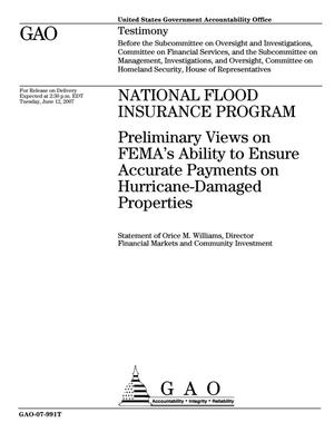 Primary view of object titled 'National Flood Insurance Program: Preliminary Views on FEMA's Ability to Ensure Accurate Payments on Hurricane-Damaged Properties'.