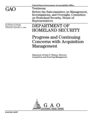 Primary view of object titled 'Department of Homeland Security: Progress and Continuing Concerns with Acquisition Management'.