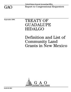 Primary view of object titled 'Treaty of Guadalupe Hidalgo: Definition and List of Community Land Grants in New Mexico'.