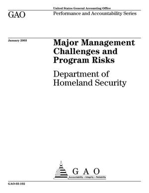 Primary view of object titled 'Major Management Challenges and Program Risks: Department of Homeland Security'.
