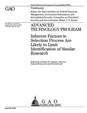 Primary view of object titled 'Advanced Technology Program: Inherent Factors in Selection Process Are Likely to Limit Identification of Similar Research'.