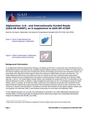 Primary view of object titled 'Afghanistan: U.S.- and Internationally-Funded Roads (GAO-09-626SP), an E-supplement to GAO-09-473SP'.
