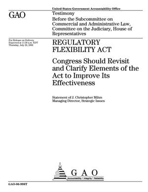Primary view of object titled 'Regulatory Flexibility Act: Congress Should Revisit and Clarify Elements of the Act to Improve Its Effectiveness'.