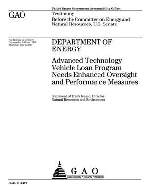 Primary view of object titled 'Department of Energy: Advanced Technology Vehicle Loan Program Needs Enhanced Oversight and Performance Measures'.