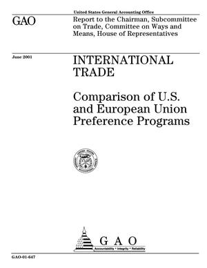 Primary view of object titled 'International Trade: Comparison of U.S. and European Union Preference Programs'.