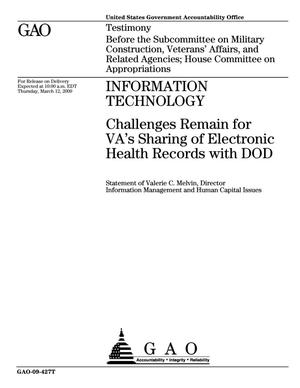 Primary view of object titled 'Information Technology: Challenges Remain for VA's Sharing of Electronic Health Records with DOD'.