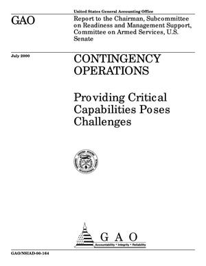 Primary view of object titled 'Contingency Operations: Providing Critical Capabilities Poses Challenges'.