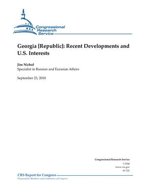 Georgia [Republic]: Recent Developments and U.S. Interests