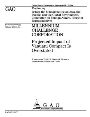 Primary view of object titled 'Millennium Challenge Corporation: Projected Impact of Vanuatu Compact Is Overstated'.