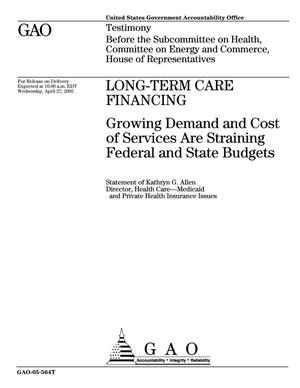 Primary view of object titled 'Long-Term Care Financing: Growing Demand and Cost of Services Are Straining Federal and State Budgets'.