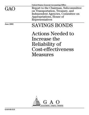 Primary view of object titled 'Savings Bonds: Actions Needed to Increase the Reliability of Cost-effectiveness Measures'.