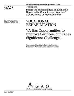 Primary view of object titled 'Vocational Rehabilitation: VA Has Opportunities to Improve Services, but Faces Significant Challenges'.