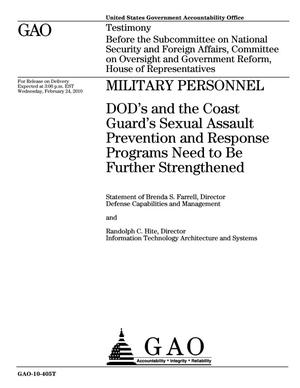 Primary view of object titled 'Military Personnel: DOD's and the Coast Guard's Sexual Assault Prevention and Response Programs Need to Be Further Strengthened'.