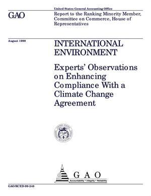 Primary view of object titled 'International Environment: Experts' Observations on Enhancing Compliance With a Climate Change Agreement'.