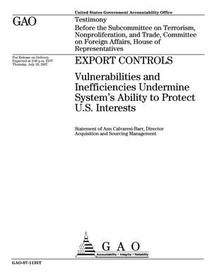 Primary view of object titled 'Export Controls: Vulnerabilities and Inefficiencies Undermine System's Ability to Protect U.S. Interests'.
