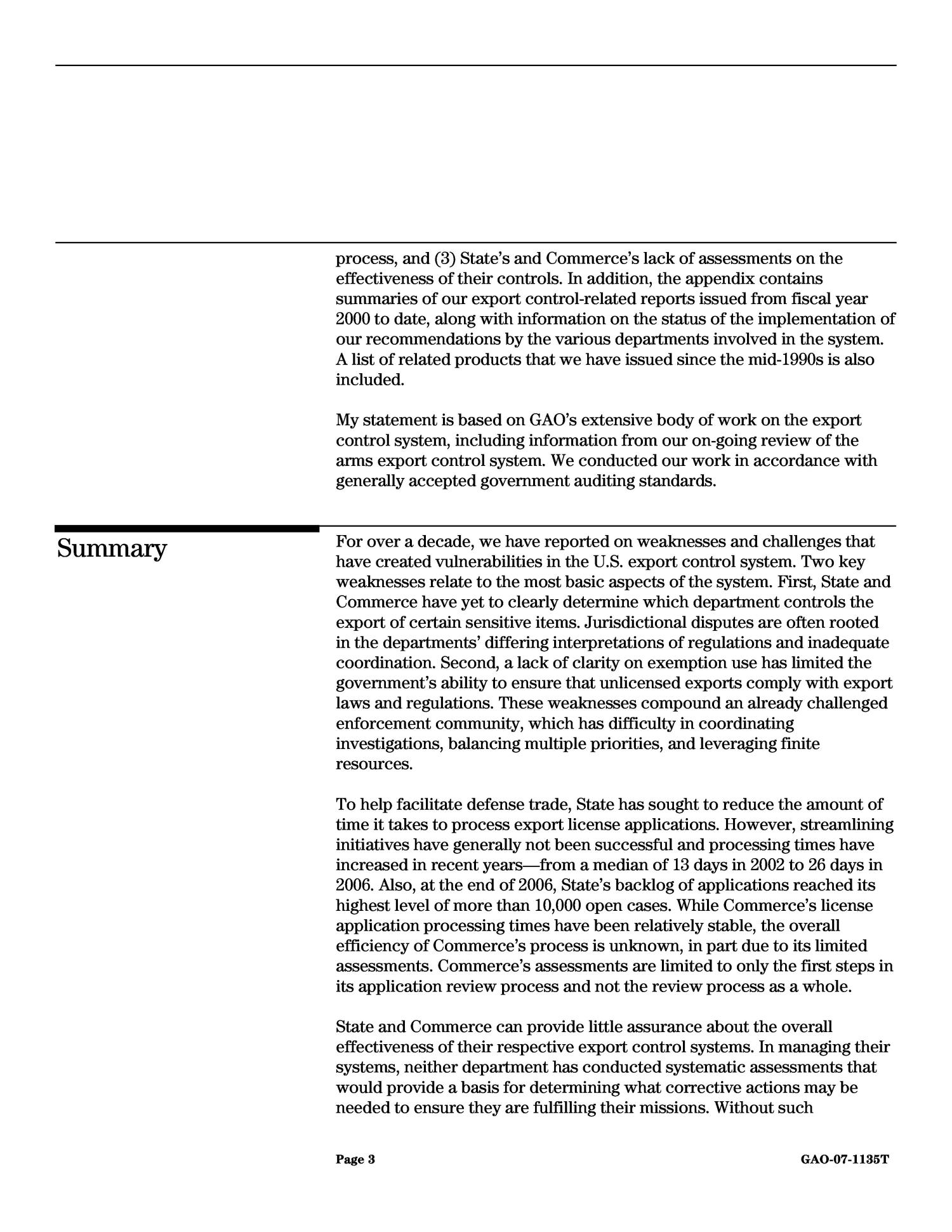 Export Controls: Vulnerabilities and Inefficiencies Undermine System's Ability to Protect U.S. Interests                                                                                                      [Sequence #]: 4 of 37