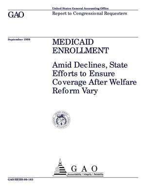 Primary view of object titled 'Medicaid Enrollment: Amid Declines, State Efforts to Ensure Coverage After Welfare Reform Vary'.