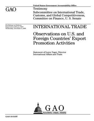Primary view of object titled 'International Trade: Observations on U.S. and Foreign Countries' Export Promotion Activities'.