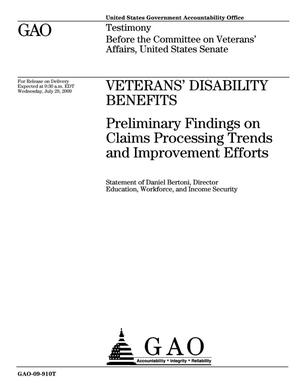 Primary view of object titled 'Veterans' Disability Benefits: Preliminary Findings on Claims Processing Trends and Improvement Efforts'.