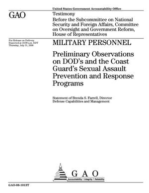 Primary view of object titled 'Military Personnel: Preliminary Observations on DOD's and the Coast Guard's Sexual Assault Prevention and Response Programs'.