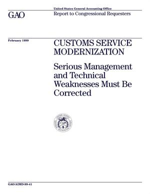 Primary view of object titled 'Customs Service Modernization: Serious Management and Technical Weaknesses Must Be Corrected'.