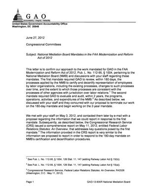 Primary view of object titled 'National Mediation Board Mandates in the FAA Modernization and Reform Act of 2012'.