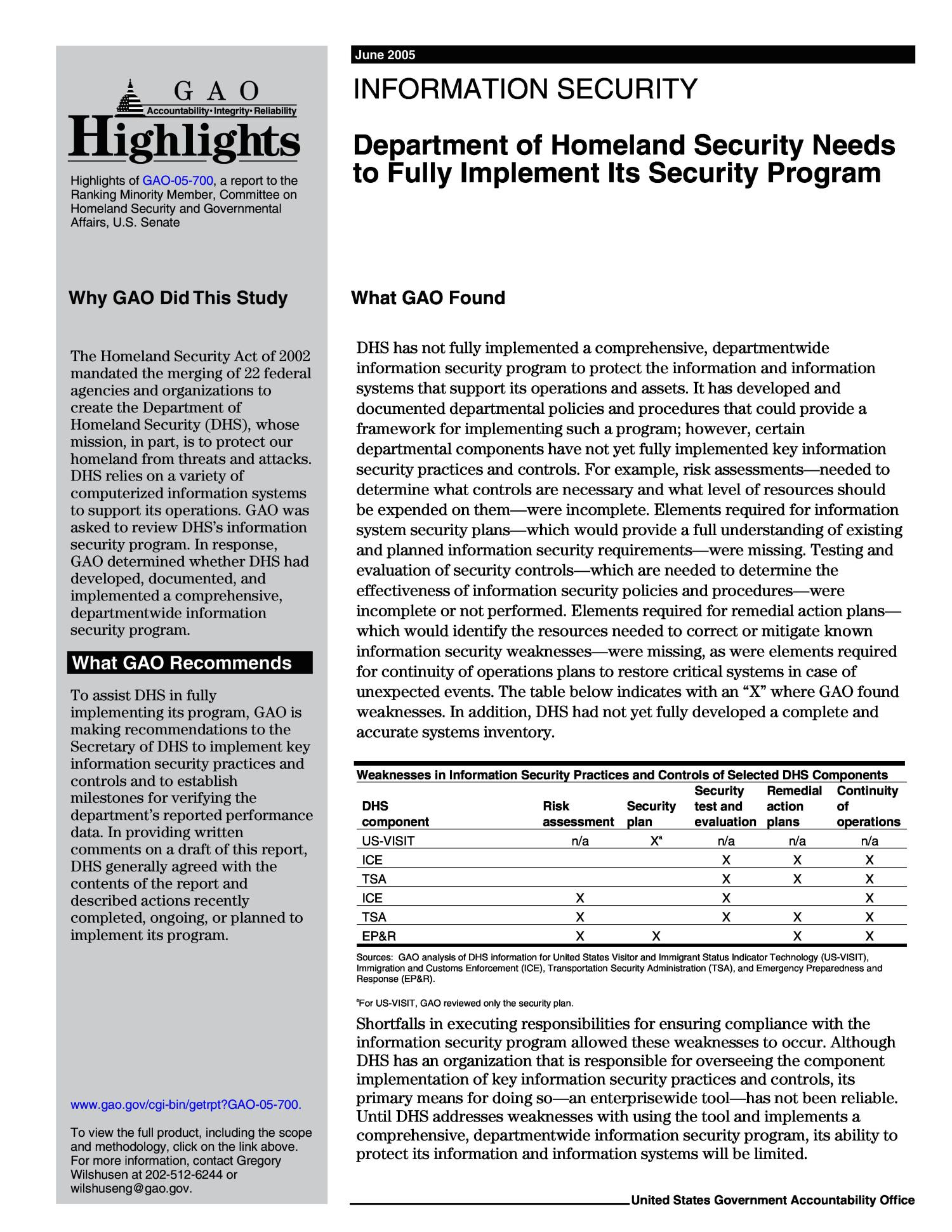 Information Security: Department of Homeland Security Needs to Fully Implement Its Security Program                                                                                                      [Sequence #]: 2 of 36