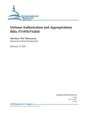 Defense Authorization and Appropriations Bills: FY1970-FY2010