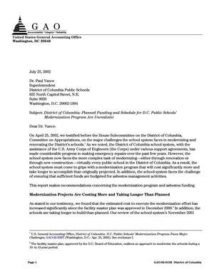 Primary view of object titled 'District of Columbia: Planned Funding and Schedule for D.C. Public Schools' Modernization Program Are Unrealistic'.