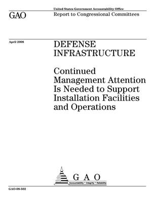 Primary view of object titled 'Defense Infrastructure: Continued Management Attention Is Needed to Support Installation Facilities and Operations'.