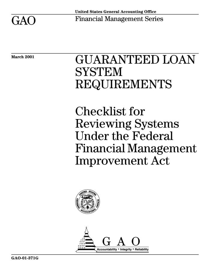 Guaranteed Loan System Requirements: Checklist for Reviewing Systems