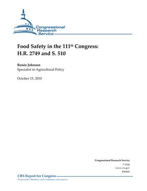 Food Safety in the 111th Congress: H.R. 2749 and S. 510
