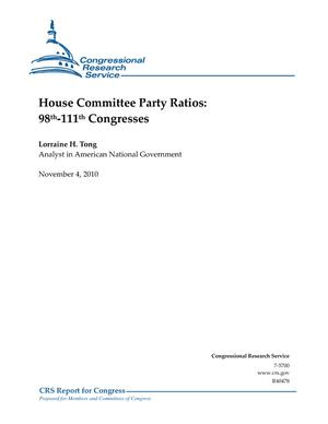 House Committee Party Ratios: 98th-111th Congresses