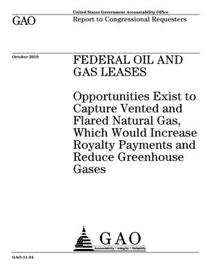 Primary view of object titled 'Federal Oil and Gas Leases: Opportunities Exist to Capture Vented and Flared Natural Gas, Which Would Increase Royalty Payments and Reduce Greenhouse Gases'.