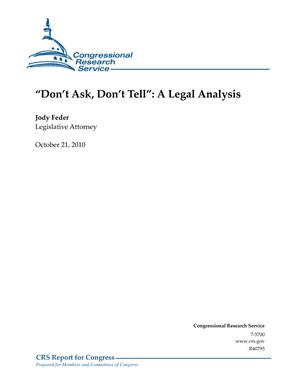 """Don't Ask, Don't Tell"": A Legal Analysis"