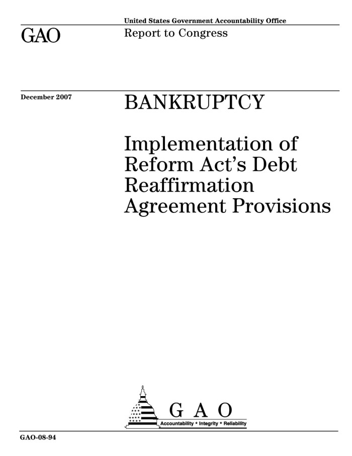 Bankruptcy Implementation Of Reform Acts Debt Reaffirmation