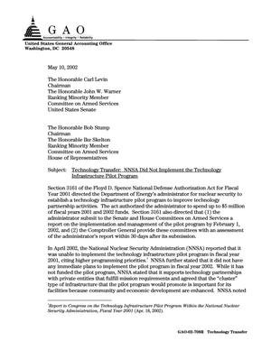 Primary view of object titled 'Technology Transfer: NNSA Did Not Implement the Technology Infrastructure Pilot Program'.