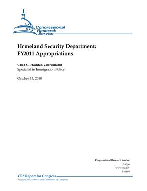 Homeland Security Department: FY2011 Appropriations