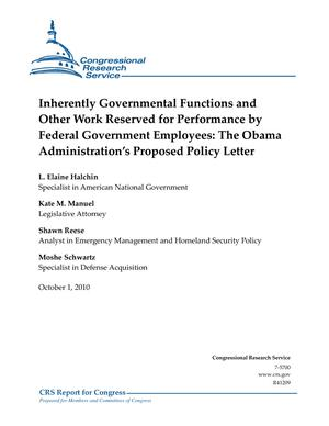 Inherently Governmental Functions and Other Work Reserved for Performance by Federal Government Employees: The Obama Administration's Proposed Policy Letter