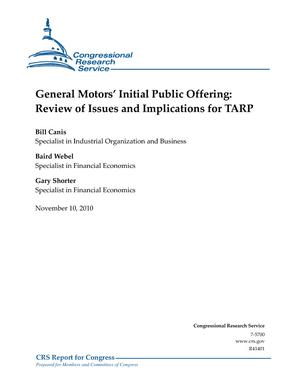 General Motors' Initial Public Offering: Review of Issues and Implications for TARP