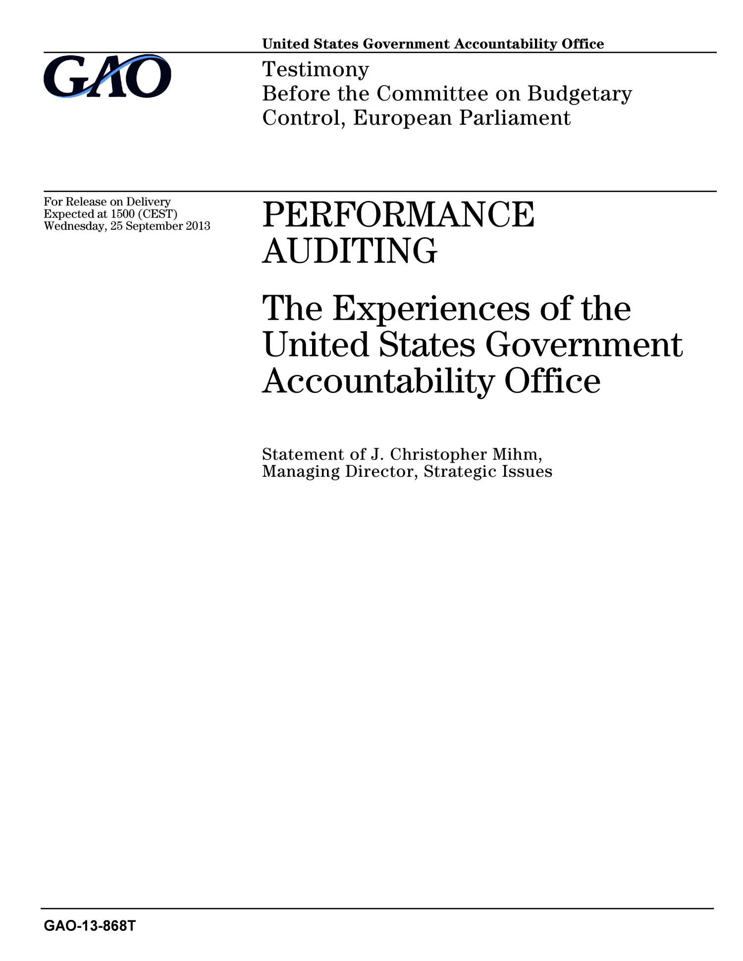 Performance Auditing The Experiences of the United States