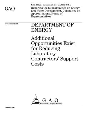 Primary view of object titled 'Department of Energy: Additional Opportunities Exist for Reducing Laboratory Contractors' Support Costs'.
