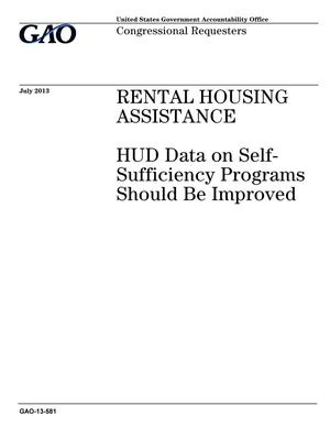 Primary view of object titled 'Rental Housing Assistance: HUD Data on Self-Sufficiency Programs Should Be Improved'.