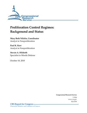 Proliferation Control Regimes: Background and Status