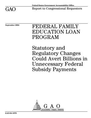 Primary view of object titled 'Federal Family Education Loan Program: Statutory and Regulatory Changes Could Avert Billions in Unnecessary Federal Subsidy Payments'.