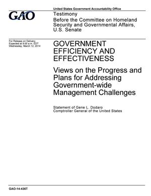 Primary view of object titled 'Government Efficiency and Effectiveness: Views on the Progress and Plans for Addressing Government-wide Management Challenges'.