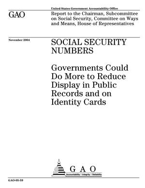 Primary view of object titled 'Social Security Numbers: Governments Could Do More to Reduce Display in Public Records and on Identity Cards'.