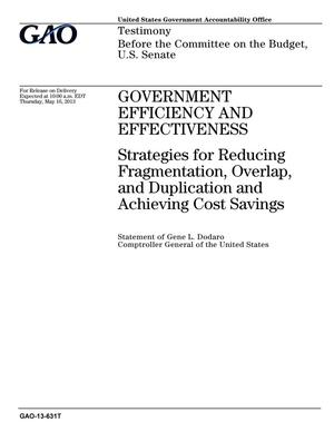 Primary view of object titled 'Government Efficiency and Effectiveness: Strategies for Reducing Fragmentation, Overlap, and Duplication and Achieving Cost Savings'.