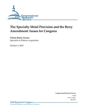 The Specialty Metal Provision and the Berry Amendment: Issues for Congress