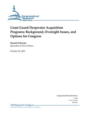 Coast Guard Deepwater Acquisition Programs: Background, Oversight Issues, and Options for Congress